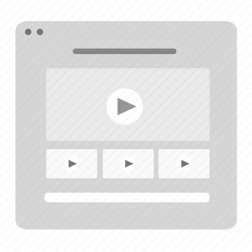 interface, list, live, movie, player, video, youtube icon