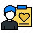 heart, love, need, notes, user, ux, want icon