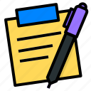 note, pen, sticky, ux, write icon