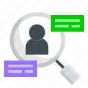 ux, search, research, analytic, data, user icon