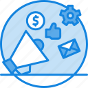 advertising, announcement, cocnept, dollar, gear, like, marketing, promotion icon, speaker, thumb up icon