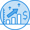 analysis, analytics, dollar, forecast, money, prediction, trend icon, up icon