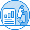 analytics, concept, data analysis, line chart, market, microscope, research icon icon
