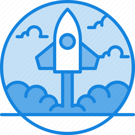 business, computer, conecpt, laptop, launch, project, rocket, spaceship, start, startup icon icon
