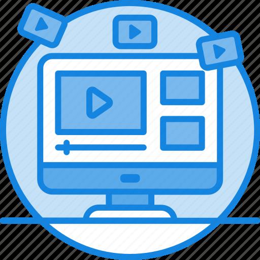 concept, digital, internet, marketing, media, promotion, seo, social, video marketing icon icon