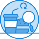 eating place, fast food, find a food icon, finding food, loading, magnifier, searching icon