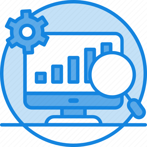chart, gear, graph, maghnifier, monitoring, seo, seo icon icon