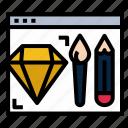 blush, creating, design, diamons, pencil, program, ui icon