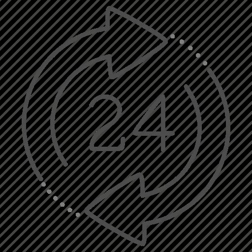 around, clock, customer, service, the icon