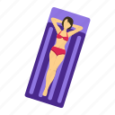 beach, girl, sea, summer, vacation, woman icon