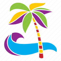 nature, palm, relaxation, tree, tropical, vacation, wave icon