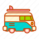 combi, holiday, road, summer, surfing, trip, vacation icon