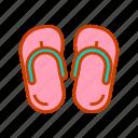 beach, fashion, flip flops, footwear, slippers, summer, travel icon