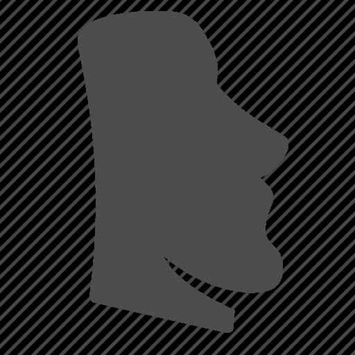 easter island, head, landmark, man, moai, stone, travel icon