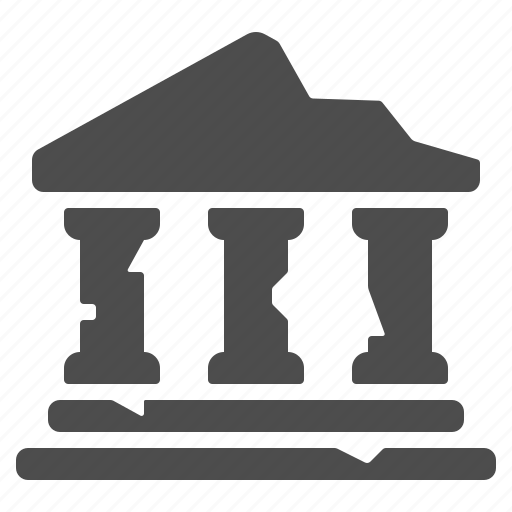 bank, broken, columns, greek, roman, ruins, temple icon