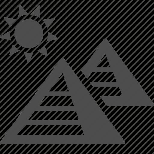 desert, egypt, giza, pyramid, pyramids, sun icon