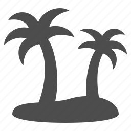 island, palm tree, tropical, vacation icon