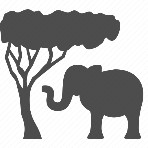 africa, animal, elephant, safari, tourism, tree, vacation icon