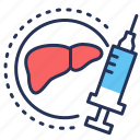 vacination, hepatitis, syringe, liver icon