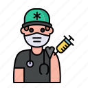 paramedic, man, avatar, vaccine, vaccination