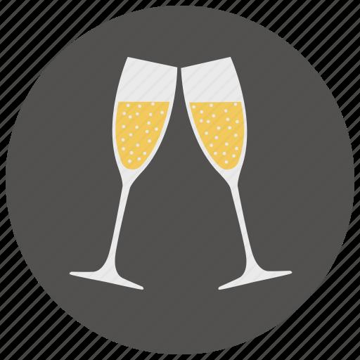 alcohol, champagne, date, drink, glasses, romantic, valentine icon