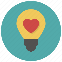 bulb, heart, idea, lamp, like, love, valentine icon