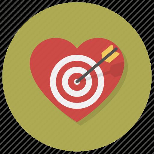 arrrow, heart, intent, love, shoot, target, valentine icon
