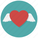 fly, heart, love, the wings of love, valentine, valentine's day, wings icon