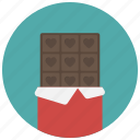 candy, chocolate, chocolate bar, food, sweet, valentine, valentine's day icon