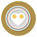 breakfast, cooking, eggs, food, heart, love, valentine icon