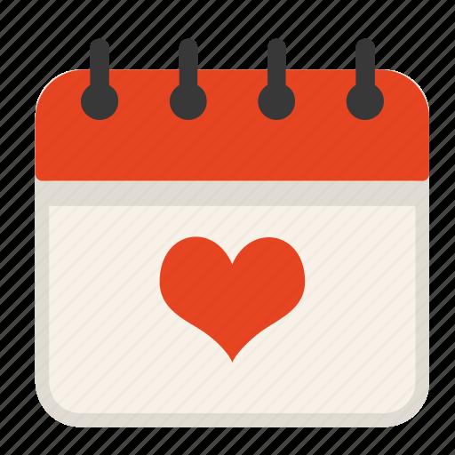 Calendar, date, day, heart, love, valentine icon - Download on Iconfinder