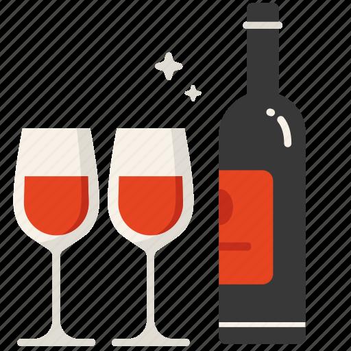 dinner, love, valentine, wine icon