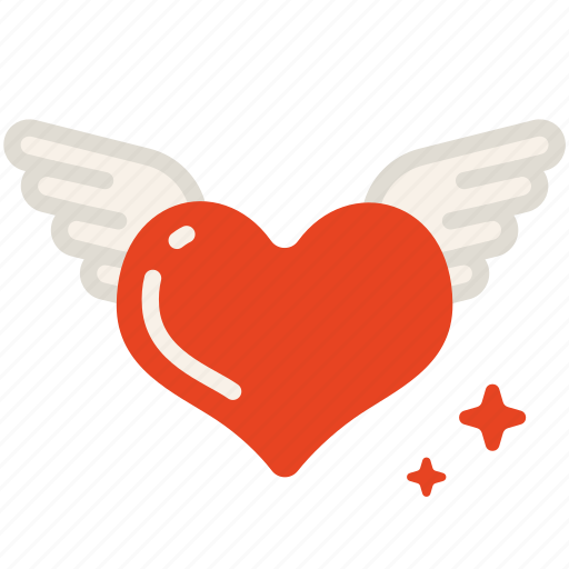 fly, heart, love, valentine, wing icon
