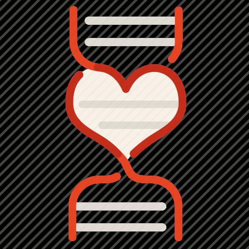 dna, heart, love, science, valentine icon