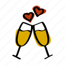 champagne, date, day, drink, glasses, romantic, valentines icon