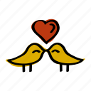 bird, heart, love, romantic, valentine icon