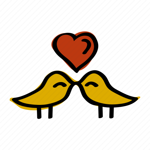 bird, heart, love, romantic, valentine icon