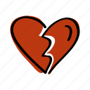 broken, expression, face, heart, valentine icon