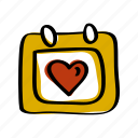 calendar, date, heart, love, schedule, valentines icon