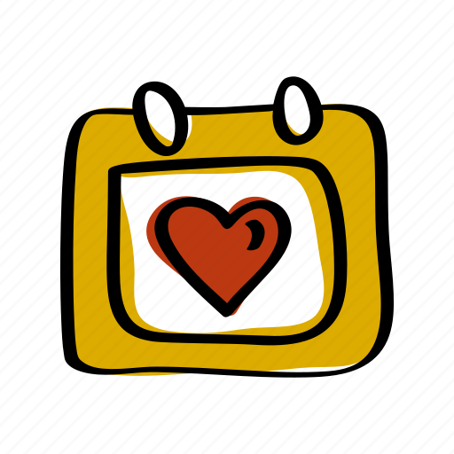 calendar, date, heart, love, schedule, valentines icon