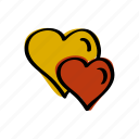 couple, day, hearts, love, romance, valentine, valentines icon