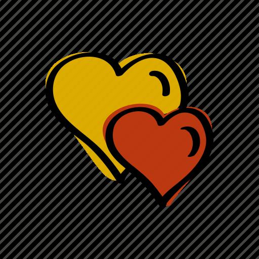 couple, day, hearts, love, romance, valentine, valentines icon