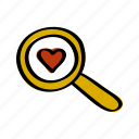 find, heart, love, magnifying, search, valentine, valentines icon