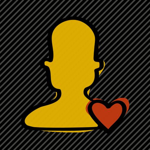 heart, love, man, person, profile icon