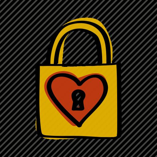 day, heart, key, lock, love, valentine, valentines icon