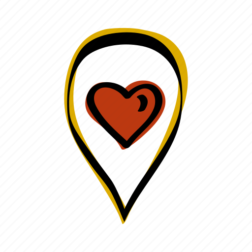 heart, location, love, map, navigation, pin icon