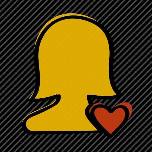 heart, love, person, profile, woman icon
