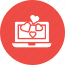 chat, chatting, device, heart, laptop, love, valentine