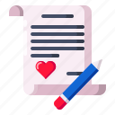 communication, letter, love, message, note, valentine, write icon