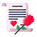 gift, letter, love, propose, rose, valentine icon